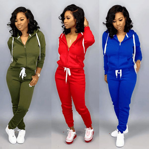New Long Sleeve Patcwork Top Pants 2 Piece Sets Women Tracksuit Sportswear Hoodies Sweater Suits Sporting Suit Women