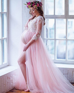 Wholesale maternity dresses pink resale online - White Lace Applique A Line Evening Dresses for Pregnant Women Pink Tulle Formal Evening Gowns Plus Size Prom Maternity Split Long Sleeve