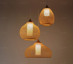 Wholesale chinese ceiling lamps resale online - Bamboo Wicker Rattan Calabash Pendant Light Fixture Chinese Asian Meditation Hanging Ceiling Lamp Restaurant Yoga Dining Room LLFA