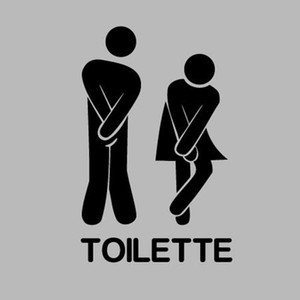 Wholesale DIY Vinyl Decals French Funny Toilet Entrance Sign Wall Sticker For Home Restaurant Toilet Decoration FQ0002