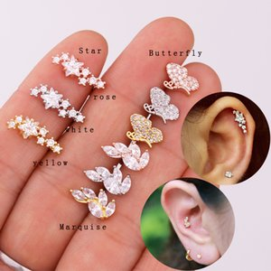 Sellsets 1 PC CZ star helix earring cartilage tragus stud barbells conch ear piercing jewelry ear sweep helix rook snug ring