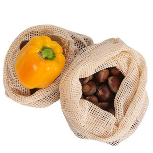 Wholesale supermarket clothing resale online - Cotton Mesh Bag Degradable Fruit and Vegetable Supermarket Shopping Bag Reusable Cotton Mesh Grocery Hand Totes Storage Bags