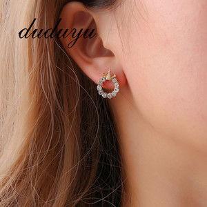 Wholesale Simple Princess Crown Full Zircon Round Stud Earrings Personality Trend Round Earrings Jewelry Women s