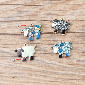 New 10pcs High Quality Fashion Enamels Charms Gift Sheep Alloy Pendant Bracelet Necklace Jewelry Accessories DIY Craft 2020