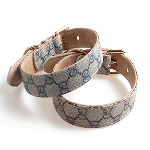 New Classic Designer Dog Collar Traction Rope Set Dog Collar Pattern Pu Leather Pets Collars Pet Collar Accessories 2020