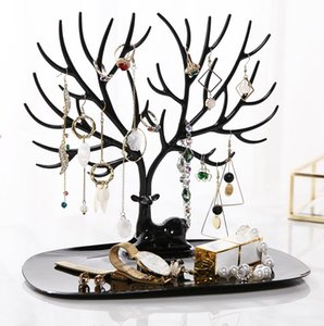 Wholesale 25*15*23 cm Plastic jewelry display Little Deer Earrings Necklace Ring Pendant Bracelet Jewelry Display Stand Tray Tree Storage