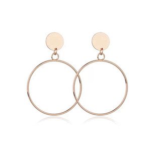 Wholesale New Silver Gold Color Big Earrings New Trendy Geometric Drop Earrings Jewelry Round Large Size Hoop For Women