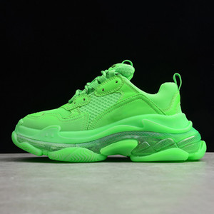Wholesale 2019 New Triple S Sneakers Green Crystal Cushion Bottom Men Women Triple S Fashion Paris Kanye FW Dad Designer Trainers Shoes Size