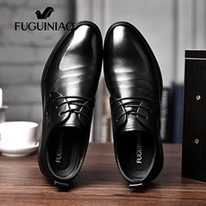 Wholesale 2020 men s Breathable dress shoes new shipping FUGUINIAO Genuine ggg Leather perforated Men s black Business Shoes