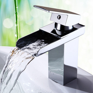 Wholesale Modern Brass Chrome Mixer Tap Bathroom Waterfall Basin Sink Faucet With Stainless Steel Pipe Cold And Hot Water Deck Mounted