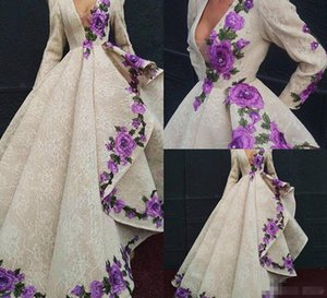 2019 Krikor Jabotian Prom Dresses With Luxury Ruffle Appliques Lace Evening Gowns Deep V Neck Long Sleeve Formal Dress Party Wear Plus Size on Sale