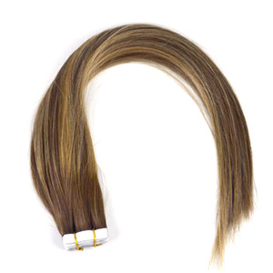 Labeh Tape in Hair Extensions Straight Multi Color Chocolate4 27 4#Ba Chocolate Brown mixed Honey Blonde Remy Tape in Human Hair Extensions