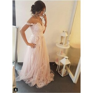 Wholesale Princess A Line Tulle Prom Dresses Off the Shoulder Lace Appliques Sexy Backless Plus Size Women Evening Dress Long Party Gowns