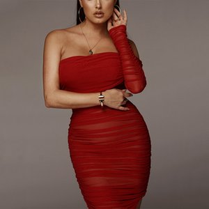 Ahagaga 2019 Summer Dress Women Sexy One Shoulder Long Sleeve Club Party Dress Solid Red Mesh Side Split Bodycon Women Dresses