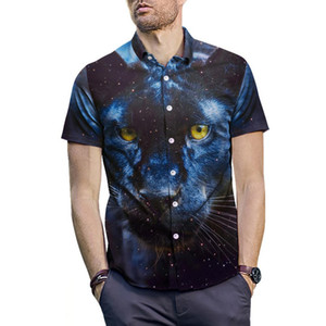 Wholesale Plus Size Men Summer Casual Leopard Animal Eyes Print Tun down Collar Short Sleeve Shirt Blouse Top