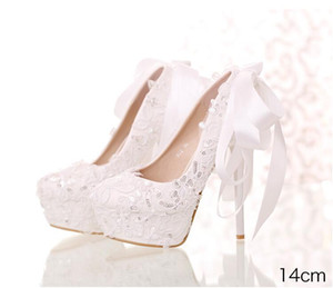 Wholesale Hot sale New white lace sequined bridal shoes Round head shallow mouth with wedding shoes Bow super high heel women s shoes Ribbon