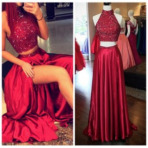 Wholesale High Neck Beaded Prom Dresses 2019 Two Piece Vestidos De Soiree Custom Ladies Evening Party Gowns Real Photos