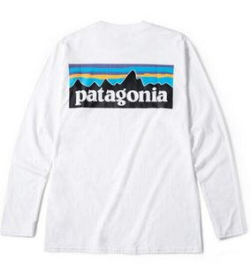 Wholesale Mens Tees PATAGONIA Long Sleeve Crew Neck T Shirts Hommes Tops Women Casual Loose Tees Mountain Lovers Peak Print Tshirt
