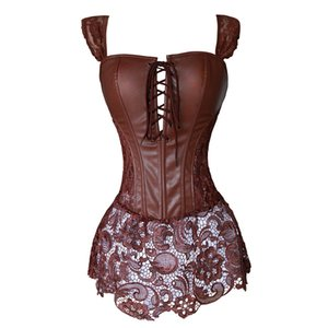Wholesale Faux Leather Corset Dress Steampunk Zip Corselet Gothic Clothing Black Coffee Red Lingerie Sexy Party Outfits S XL Plus Size