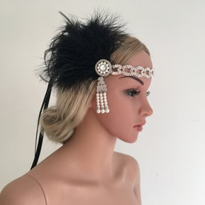 Wholesale Silver Crystal Beading Flapper Headband Black Snow Bud Feather Pearl Tassel Headbands for Bride Bridesmaid Indian Hair Bands Gift Set