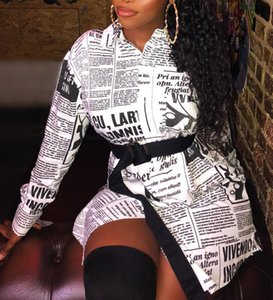 Wholesale Newspaper printed White Mini Dress Letter Women long sleeve sexy vintage plus size top Female white blouse winter streetwear shirt tops