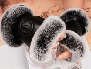 Women fur gloves Leather Luxury Simple fashion brand Plush rabbit soft warm Lambskin Bicycle touch screen gloves Wedding bride gloves