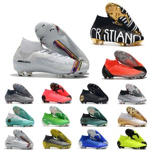 Wholesale Cheap Mercurial Superfly VI Elite FG KJ XII CR7 Ronaldo Neymar Mens Women Boys High ankle Soccer Shoes Football Boots Cleats US3