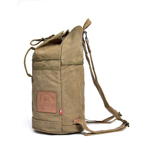 Bucket Cylinde Shape Style Canvas Bags Sport Outdoor Packs Backpack Casual Backpack With Letter String Interior Zipper Pocket Slot Pocket on Sale