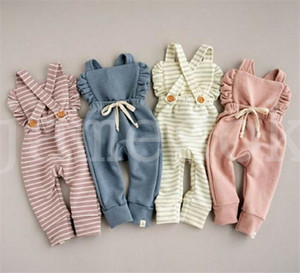 Wholesale baby clothing overall for sale - Group buy New Born Baby Clothes Backless Striped Ruffle Romper Overalls Jumpsuit Clothes Baby Girl Girl Romper kids suspender jumpsuit DA254