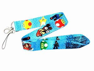 Wholesale Hot Super Mario Neck Straps Blue Colors Mario School Card Lanyard Toy MP3 cell phone Camera Neck Strap Lanyard