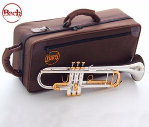 quality Bach Trumpet Original Silver plated GOLD KEY LT180S-72 Flat Bb Professional Trumpet bell Top musical instruments Brass on Sale