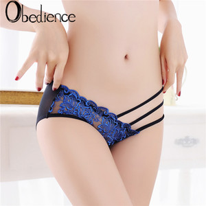 Wholesale 2019 Women Sexy Underwear Lace Briefs Panties Super Thin Hollow breathable sexy lace panties embroidered women s hip mesh gauze