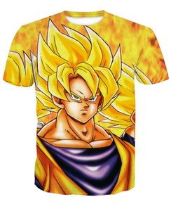 Wholesale New Style Anime Japan Dragon Ball Vegeta Yellow Hair T shirt Women Men Summer Unisex Funny d Print Short Sleeve Crewneck Casual Tops Q397