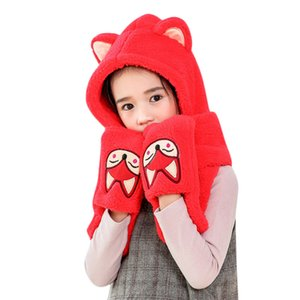 Wholesale Baby Cartoon Warm Fluffy Hood Scarf Hat Snood Pocket Hats Gloves Ears Fashion Gift