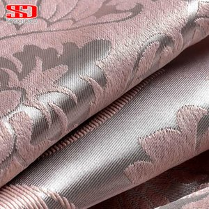 Wholesale Fabric Elegant Luxury Blackout Curtain For Living Room Pink Blinds Jacquard Drapes Damask European Window Treatments Panels D19011506