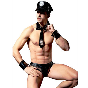 Wholesale Sexy Men Police Lingerie Set Black Leather Cops Costume Low Waist Fishnet Briefs Underwear Pieces Male Lingerie Set with Hat C18112201
