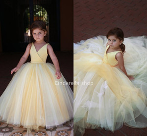 Wholesale Lovely Yellow Ball Gowns Flower Girls Dresses V Neck Sleeveless Children Party Gowns Arabic Cheap Girls Formal Occasion Dresses