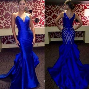 Elegant Royal Blue Evening Dresses Long 2020 Sleeveless Satin Mermaid Prom Dresses Back Sequined Miss USA Pageant Party Dresses on Sale