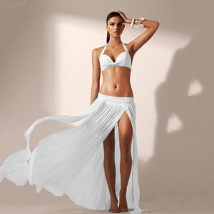 Wholesale Summer Beach Dress Women Lady Sexy Chiffon White Tunic Wrap Long Maxi Skirt Swimwear Bikini Cover Up Sarong Bathing Suit