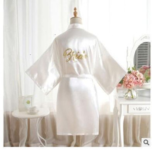 Wholesale bridesmaid robes for sale - Group buy Women Sleepwear Femme Lingeries Satin Silk V Neck Wedding Bridesmaid Robe Solid Short Kimono Robe Night Bath Robe Dressing Gown For Wome