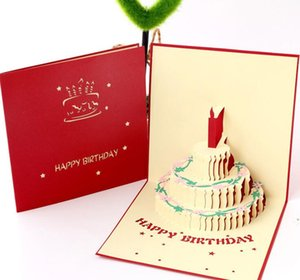 Wholesale Birthday Gift Cake Card Pop Up D Greeting Cards With Envelope Postcard Invitation Handcrafted Origami Anniversary GB656