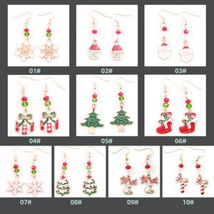 Wholesale santa boots resale online - Xmas Earrings patterns under choices Christmas Eve Earrings Alloy Drops boots snowflake Santa Claus Tree snowman Deer Bell Stud Earrings