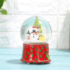 Custom glass crystal ball ornaments light rotating music box snowball resin water ball ornaments crafts fashion