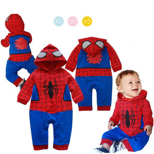 Wholesale 2019 New Boys Spiderman Coat Kids Cotton Spring Jacket Chirdren Character Lovely Hoodies Outerwear Spider man Boys Clothes baby Jumpsuit C21