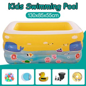 Wholesale Summer Baby Outdoor PVC Cartoon Inflatable Swimming Pool Square Children Thickened Family Playing Water Pool With Pump Balls