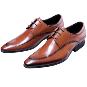 Wholesale Black Brown Pointed toe Business Shoes Mens Dress Shoes Genuine Leather Oxfords Wedding Groom Male Formal Social