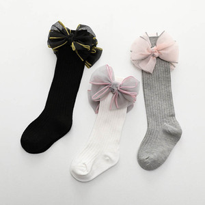 New large bows baby socks princess girls socks cotton newborn knit knee high socks infant sock baby girl clothes toddler girl clothes A7276 on Sale