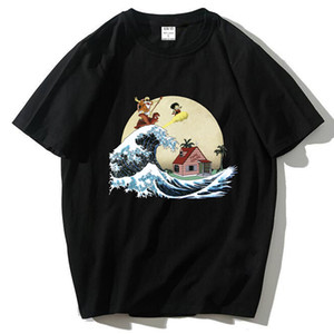 Wholesale 100 cotton T shirt high quality fashion casual Dragon Ball Z Goku print t shirt men Harajuku brand clothing tshirt