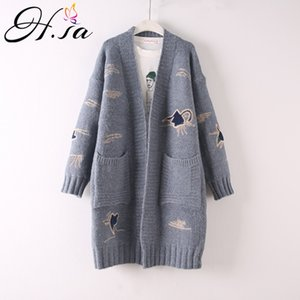 Wholesale HSA Autumn Winter Long Sweater Cardigans V neck Casual Maxi Embroidery Cute Cardigans Winter Warm Thick Sweater Coat