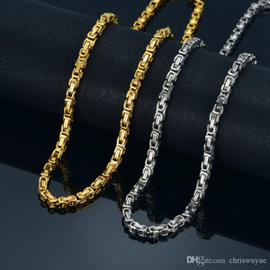 2019 High quality 4MM Gold Silver 360L Stainless Steel Choker Necklace Chain man Byzantine Box jewelry